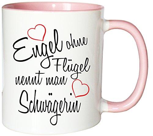 Mister Merchandise Kaffeebecher Tasse Engel ohne Flügel nennt man Schwägerin Hochzeit Bruder Heirat Geschenk Weihnachten Teetasse Becher Weiß-Rosa