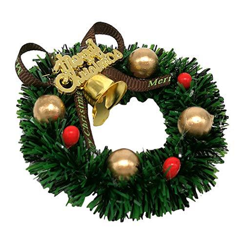 Funpa Christmas Micro Landscape Ornament Cute Wreath Bell Creative Mini Landscape Decor