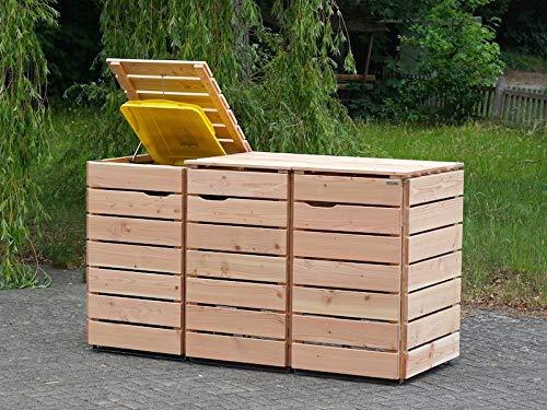 3er Mülltonnenbox / Mülltonnenverkleidung 240 L Holz, Douglasie Natur - 2