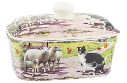 Englische Keramik (Collie and Sheep Design Fine China Butter Dish)