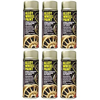 6 x E-tech Drift Gold Alloy Wheel Spray Paint 400ml Cans - Chip Resistan