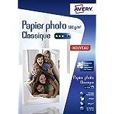 Avery 80 Feuilles de Papier Photo 180g/m² 10 x 15mm - Impression Jet d'Encre - Brillant - Blanc (C2570)