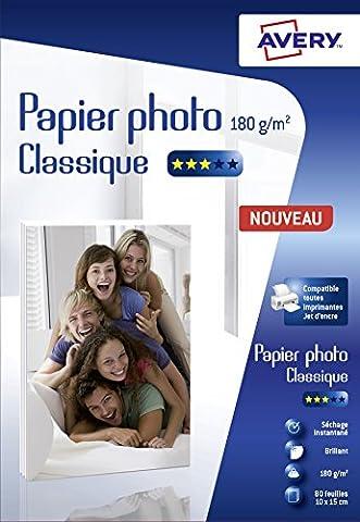 Avery 80 Feuilles de Papier Photo 180g/m² 10 x 15mm