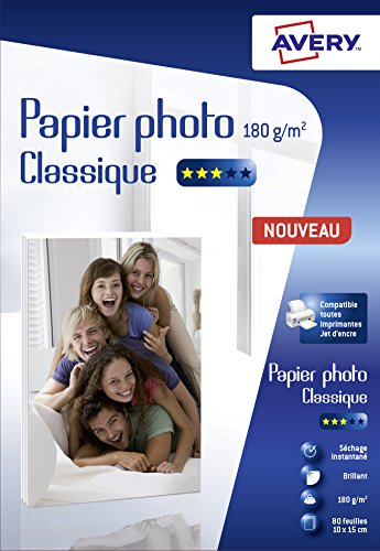 Avery 80 Feuilles de Papier Photo 180g/m² 10 x 15mm - Impression Jet d'Encre - Brillant - Blanc (C2570)