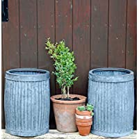 Bowley & Jackson Matching pair small vintage style round zinc dolly planters