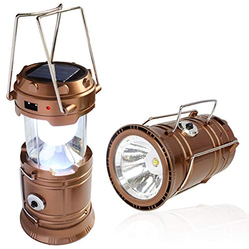 DINHAND Ultra Bright LED nachladbare Laterne, tragbare Solar Camping Laternen Lichter, Klapp-Camping-Laterne, super helle, Leicht, Multi Purpose Geeignet für Wandern, Camping, Notfall, Outages, Hurricanes (Golden)