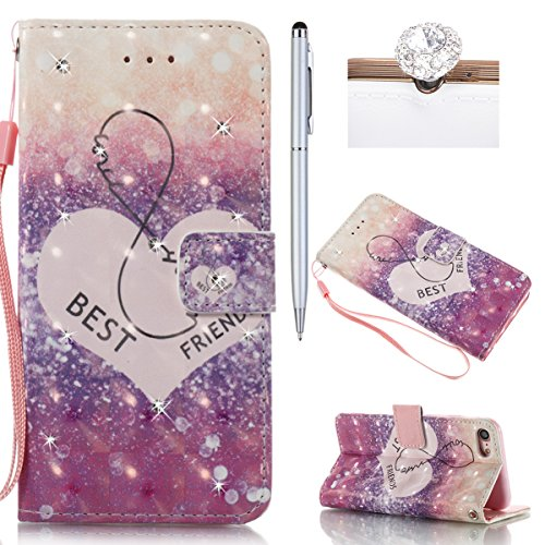 iPhone 7 Hülle,iPhone 7 Case,iPhone 7 Cover - Felfy PU Ledertasche Strap Flip Standfunktion Magnetverschluss Luxe Bookstyle Ledertasche Nette Retro Mode Painted Muster Abdeckung Schutzhülle Ablösbar H Best Friend*
