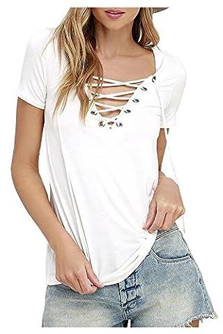 Zaywind Damen Sommer Kurzarm T-Shirt V-Ausschnitt mit Verband ,Weiß ,