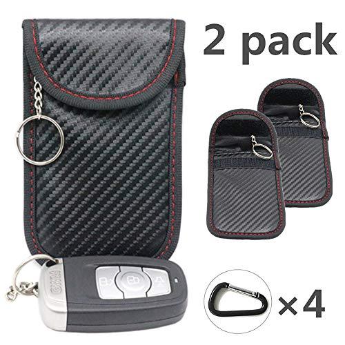 2X Autoschlüssel Tasche Keyless Go Schutz Fob Signalblocker Faraday Tasche Anti-Strahlung Abschirmung Brieftasche Fall für Datenschutz - WiFi, GSM, LTE, NFC & RFID(Rot schwarz)(EINWEG)