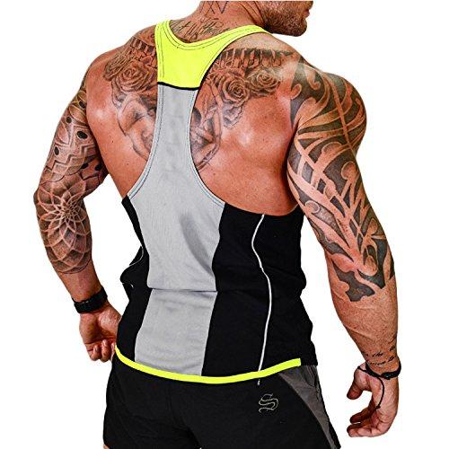 Herren Athletic lässig Tank top,T-Shirt Unterhemden, Ärmellos Weste, Muskelshirt,Fitness Shirt(Weitere Farben) (Black & Yellow, XXXL)