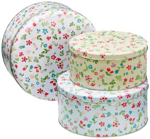 cooksmart-barattoli-per-dolci-con-motivo-prato-di-primavera-set-di-3