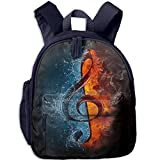 Lovely Schoolbag Ice Fire Music Double Zipper Waterproof Children Schoolbag Backpacks with Front Pockets for Youth Boy Girl