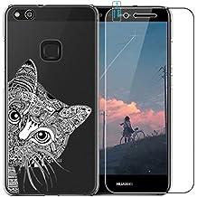 Huawei P10Lite Funda con Protector de pantalla de cristal templado, blossom01Ultra Thin Soft Gel TPU Silicona Funda con carcasa para Huawei P10Lite multicolor gato Huawei P10 Lite