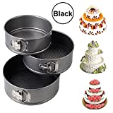 Baby Basket Set of 3 Round Aluminium Non-Stick Backing Cake Moulds Pan Can be Used in Microwave Ovens (Black)