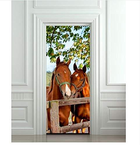 PANDABOOM 3D Tür Aufkleber Pferde Stall Scheune Abnehmbare Wandbilder Tapete Für Schlafzimmer Wohnzimmer Geschenk Kunst PVC Wasserdicht Aufkleber Von Wrap 77X200Cm -