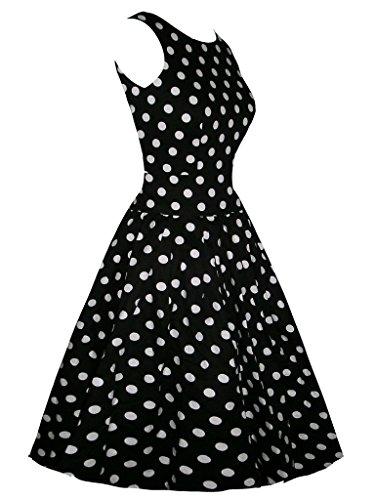 Eyekepper Robe cocktail Femme / Mademoiselle - Motif petit rond Robes de Soiree Vintage 1950's Noir