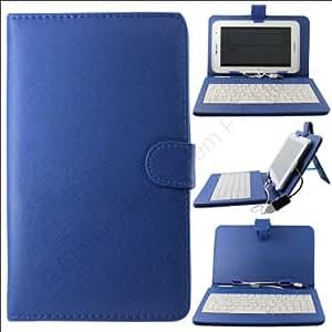 QWERTY Keyboard Cover Case Stand for Samsung Galaxy Tab 2 P3100 + USB OTG + Stylus + DMG Wristband (Deep Blue)