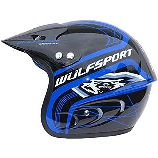 MOTORRADHELM WULFSPORT AIRFLO TRAILS ACTION JET MOTOCROSS ENDURO ATV HELM ALLE FARBEN (BLAU, XL)