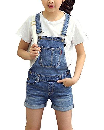Gladiolusa bambine salopette corta jeans ragazze salopette pantaloncini denim jeans shorts overall jumpsuit monopezzi blu 130cm