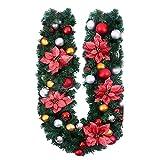 Weihnachtsdeko Weihnachtsgirlande 1.8M Tannengirlande mit Beeren Blumen Schleifen Weihnachtskranz Bunt Weinachten Girlande Kranz Treppen Fensterdeko Christbaumkuglen Dekoration Rot