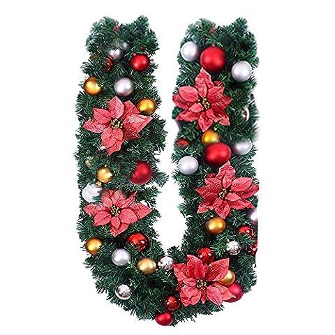 Super Victor Weihnachtsdeko 1.8M Weihnachtsgirlande mit Deko Tannengirlande mit Beeren Blumen bunt Christbaumkuglen Dekoration Weinachten Girlande (Rot)
