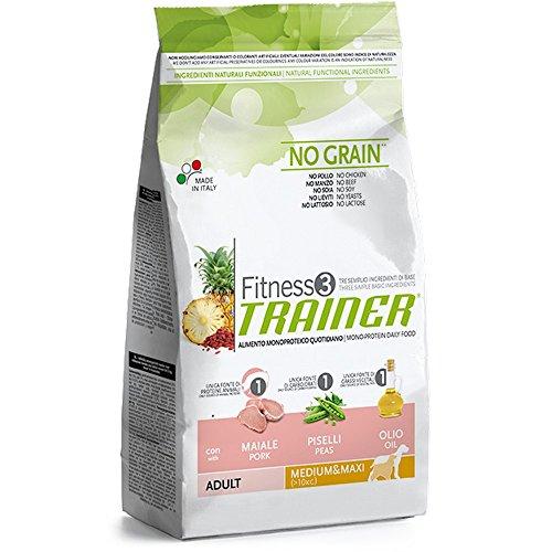 TRAINER Fitness 3 no grain medium&maxi maiale piselli e olio 3kg