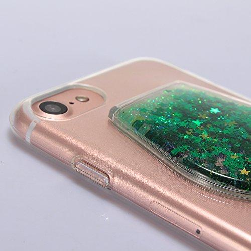 """Housse pour Apple iPhone 7Plus 5.5""""(NON iPhone 7 4.7""""), CLTPY 3D Coloré Scintillement Placage Bordure Case, Ultra Léger Mince Hull de Protection Absorption des Choques pour iPhone 7Plus + 1x Stylet -  Poudre Vert Fluorescent"""