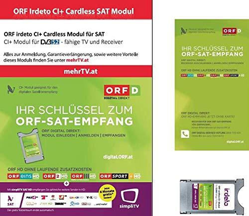 ORF DIGITAL DIREKT irdeto CI+ Modul Dual Entschlüsselung Technologie Keine Karte Mehr notwendig