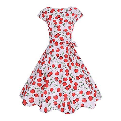 JMETRIC Kirsch Print Kleid 60er Jahre Vintage Elegantes Kleid Hepburn Stil Kleid Hohe Taille Faltenrock (Weiß,L)