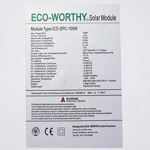 ECO-WORTHY 100W 12 Volt Solarmodul Polykristallin Solarpanel Photovoltaik Solarzelle Ideal zum Aufladen von 12V Batterien -