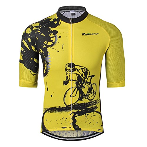 Weimostar Herren Fahrradtrikot Kurzarm Sommer, Herren Jungen, Yellow Riding, Asia XL =(US L) -