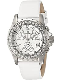 Burgmeister Burgmeister Missouri - Reloj de mujer automático, correa de piel color blanco (con cronómetro)