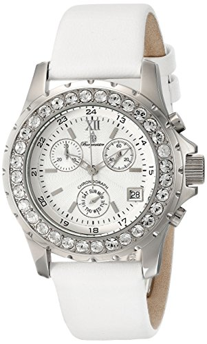 Burgmeister Ladies Missouri Chronograph Watch BM191-186 With Swarovski Stone,White Dial And White Leather Strap