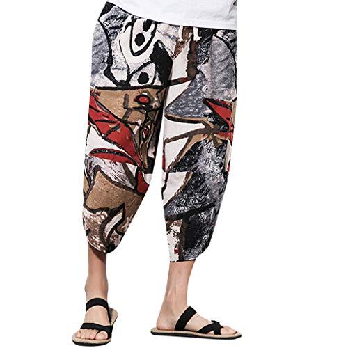 BURFLY Herren National Wind Baumwolle und Leinen gedruckt lose beiläufige Hosen Jogginghosen Sport Fitness Hosen Treasure Beach Pants