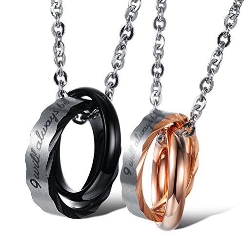 Jewow Jewellery 2 Pieces Stainless Steel Interlocking Ring With Promise Necklaces Gifts for Couples