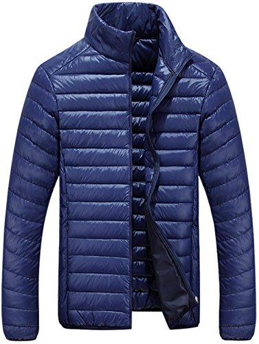 jeansian Herren Fashion Lightweight Warme Baumwolle Fell-Kragen Kapuzenjacke LD8001 Blue