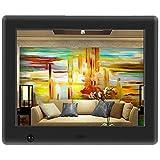 Apzka 8 Zoll HD Digitaler Bilderrahmen mit Eingebautem 2GB Speicherung- und Bewegungssensoren, MP3- und Video-Wiedergabe mit Autodrehung/Kalendar/Uhr Funktion mit Fernbedienung (8-Zoll Schwarz) Bild