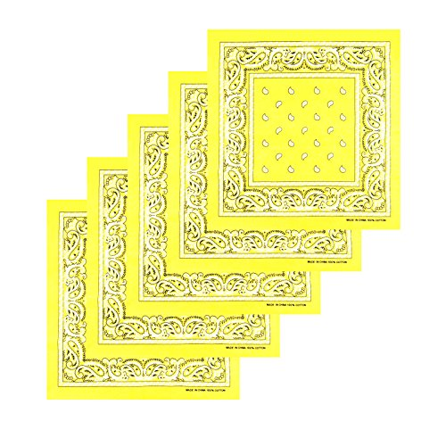 KARL LOVEN Lotto di 5 bandane 100% Cotone Paisley Sciarpa Testa Collo Fazzoletti (Lotto di 5, Giallo)