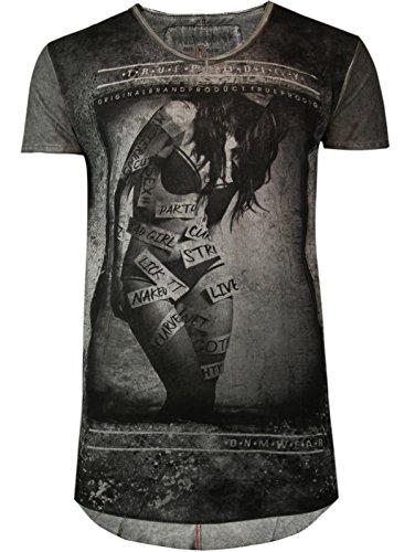 trueprodigy Casual Herren Marken T-Shirt mit Aufdruck, Oberteil cool und stylisch mit V-Ausschnitt (kurzarm & Slim Fit), Shirt für Männer bedruckt Farbe: Anthra 1062113-0403-L