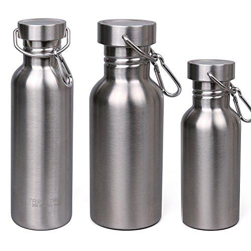 Trinkflasche Edelstahl, Triple Tree Sport Flasche 500ml 750ml 1 Liter Wasserflasche für Outdoor Aktivitäten, Perfekt Auslaufsicher Entwurf (1000ml)