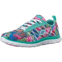 Skechers Flex AppealFloral Bloom, Low-Top Sneaker donna, Blu (Blau (AQMT)), 38