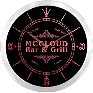 ncu29238-r MCCLOUD Family Name Bar & Grill Cold Beer Neon Sign LED Wall Clock