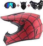 ZOLOP Motocicleta Motocross Moto Casco,Spiderman Style Red Full face Helm,Guantes Increíbles/Gafas/Mascarillas (S, F6)