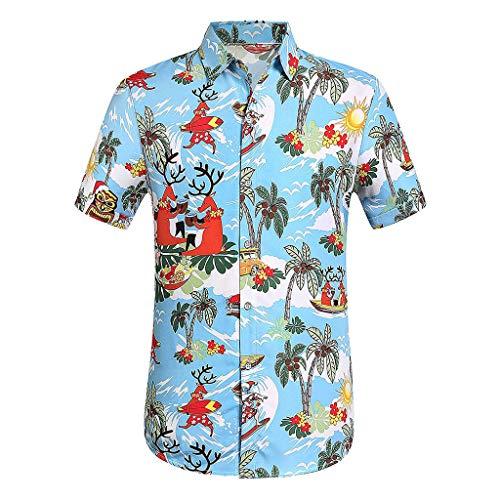Brasilianische Männliche Kostüm - bluestercool_Männer Männliches Hawaiihemd Kurzarm 3D-Blumendruck Knopfverschluss Ausschnitt Revers Slim Fit für Tropische Strandferien