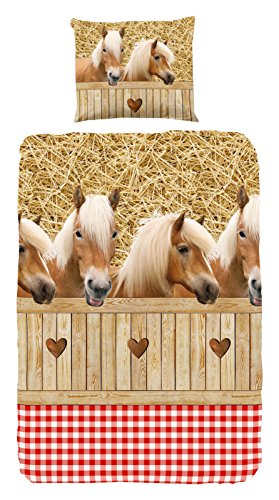 Good Morning! 5058-A bettwäsche mit Pferden, 100% Baumwolle, Multi Colour, 200x135x0.5 cm - Erwachsene Bettwäsche