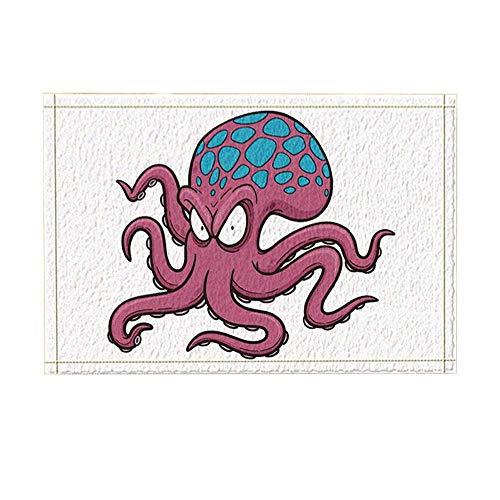 Aliyz Ein Cartoon Bad Octopus mit seltsamen Gehirn Badteppiche für Badezimmer, Rutschfeste Bodeneingänge Outdoor Indoor Haustürmatte, 15,7x23,6 Zoll Badematte bräunlich rot (Multi23)