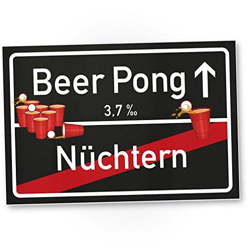Beer Pong Schild – Ortsschild, Geschenkidee lustiges und kleines Geschenk Einweihungsparty Studenten, Mitbringsel Einweihungsparty WG-Party, Party Deko – Wanddeko, Mallorca-Party, Gag Trinkspiele