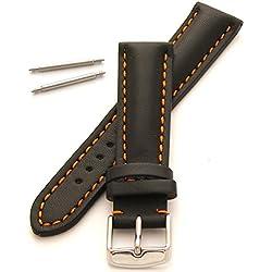 Heavy Padded Leather Watch Strap (24mm - Orange Stitch)