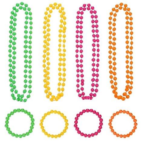 Shappy 4 Pièces Collier en Perles de Néon et 4 Pièces Bracelet en Perles de Néon pour 80s Accessoires de Fête Costume
