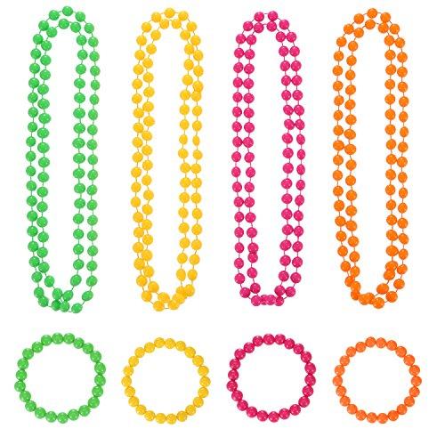 Shappy 4 Stück Neon Perlen Halskette und 4 Stück Neon Perlen Armband für 80 Party Kleid Zubehör (Total 80er Jahre Kostüm)